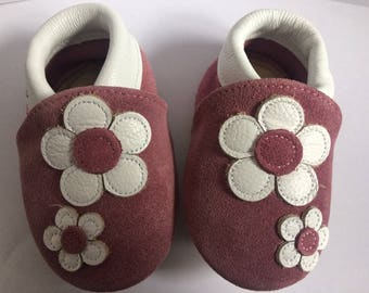 Flowers Whitwoobaby Beautifully Soft, Real Leather Moccasin Shoes for Babies and Toddlers