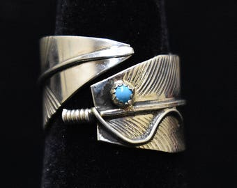 Sterling Silver Open Adjustable Feather Ring W/Blue Turquoise Dot by Navajo SS New Mexico