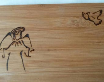Handmade, Christian, chopping board, Christian, pyrography, woodburning, bamboo, pyrography, poison