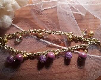 Double chain bracelet with ceramic beads and swarovski