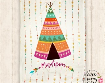 Personalized Arrow Name Blanket - Rainbow Tribal Teepee Baby Blanket with Monogram or Name  - 30x40, 50x60, 60x80