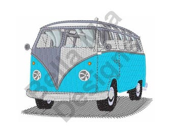 Bus - Machine Embroidery Design, VW Hippie Bus