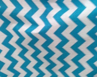 """Fabric Poly cotton Chevron turquoise/white / 60"""" Wide / Sold by the Yard"""