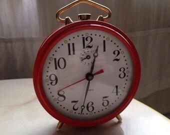 Alarm clock JAPY, Orange and vintage, 1960, Retro