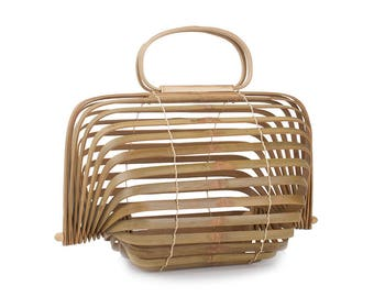 Natural Wood Collapsible Purse Hollow Summer Beach Bamboo Straw Bag
