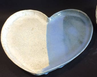 Blue and opal crystalline heart plate