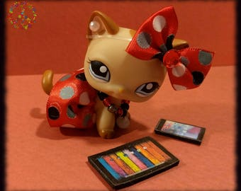 Littlest Pet Shop LPS Custom Clothes + Accessories Lot - Red & Black Polka-Dot Outfit Set + Gift Bag