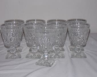 """Qty 9 Colony Park Lane Clear Water Goblets / Glasses 5.25"""" Tall  Indiana Glass"""