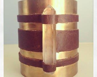 Leather and  Quartz Cuff bracelet