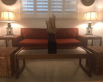 Danish Modern Coffee & End Table Set (4 piece teak/smoked glass)