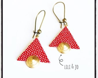 Bohemian collection: red triangles to white and small peas earrings gold rings
