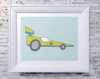 Illustrated Race Car Print