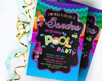 Trolls Birthday, Trolls Pool Party Invitation, Trolls Birthday Invitation,Trolls Pool Party,Trolls Party Favors,Trolls Pool Party Invitation