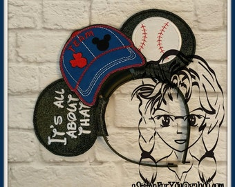BaSEBALL or SoFTBALL Inspired (3 Piece) Mr Miss Mouse Ears Headband ~ In the Hoop ~ Downloadable DiGiTaL Machine Emb Design by Carrie
