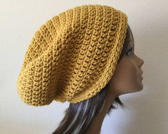 Yellow Slouchy Beanie,  Mustard Yellow  slouchy hat, Ready to Ship, Trendy Beanie