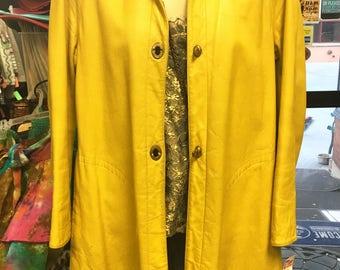 60s MOD Coat, Sixties Yellow LEATHER Jacket, Size Ladies Med / Bonnie Cashin Style