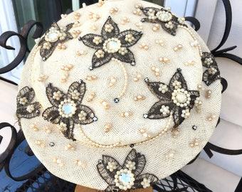 "Fabulous Fifties Hat, 1950's Vintage PEARL BEADED Hat, ""Oval Room"", JULIET Cap"
