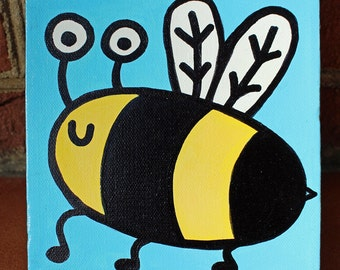 Baby Bee Minipop 6x6 Painting by Jelene