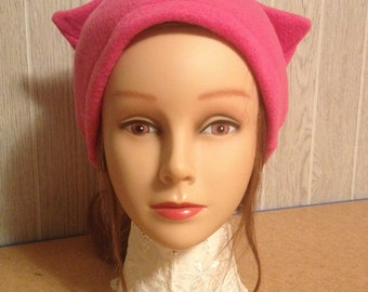 Dk. Pink FLEECE PussyHat Cat beanie Women's March PUSSY HAT Kitty Ears Knit Costume 1 Size -- Free Shipping UsA & Charity Donation