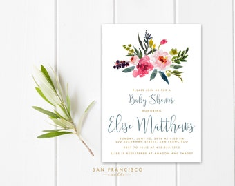 Floral Baby Shower Invitation |  Printable Baby Shower Invite | Watercolor, Blue, Gold | ELISE collection