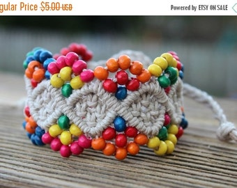 CYBER SALE Micro-Macrame Beaded Hemp Cuff Bracelet -Natural Cord with Bright Wooden Beads