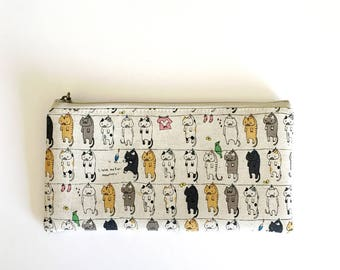 Flat  zipper pouch  -Cats on clothesline(natural)