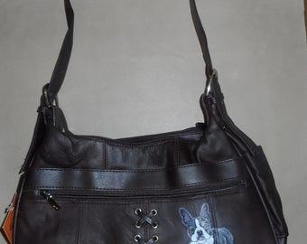 Boston Terrier Terrier Dog Hand Painted Brown Leather Handbag Bag Purse