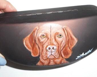 Vizsla Dog  Hand Painted Eyeglass Case Vegan Sunglass Case