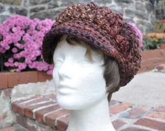 Brown Newsboy Hat - Crocheted Hat in Wool Acrylic Blend - Women's Hat with Brim - Chunky Knits - Winter Accessories - Winter Hat