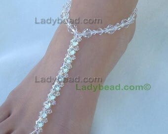 Swarovski Crystal Rhinestone Barefoot Sandals Ladybead Beach Bride Wedding Feet Barefoot Bling Foot Jewelry TLR20
