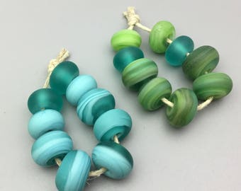 Lampwork Beads in Etched Blues and Greens
