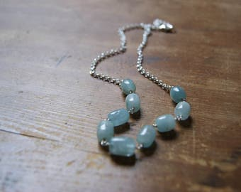 Aquamarine Necklace - Wire Wrapped Necklace - Gemstone Necklace - Stone Necklace - Mixed Metals - March birthstone - gift for Pisces