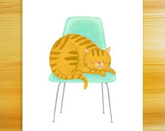 Favorite Chair - 8x10 Cat Art Print