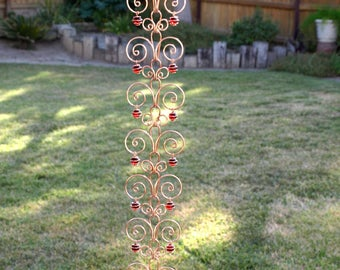 5 ft Copper  Suncatcher Swirl Rain Chain Handcrafted Kusari Doi Feng Shui Zen Garden Decor Water Feature  Handcrafted Sun Catcher Metalwork