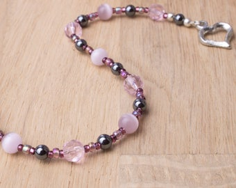 Pink bracelet - Catseye and hematite beaded bracelet with heart clasp | Cats eye jewellery | Gemstone jewelry | Pretty pink bead bracelet