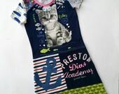 Size 7 upcycled girls sailor cat dress, girls clothing, children's clothing,kidsclothes, kidswear, girl, girls dress, upcycling, girls