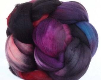 SUPERWASH MERINO roving top handdyed wool spinning fiber 3.4  oz
