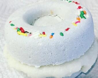 Donut Bath Bomb Fizzy & Sugar Scrub - Gift for her. Gift for mom. Gift for friend. Birthday. Women. Teens. Kids. Fun gift. bath time fun