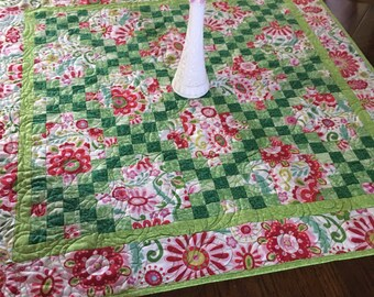 Floral Irish Chain Wall Quilt in Brights, Pink, Green floral Lap throw blanket or table topper
