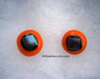 Fused Glass Earrings with Sterling Posts , Orange with Dichroic, Glass Jewelry, Fused Glass Earrings, Willow Glass, SRAJD