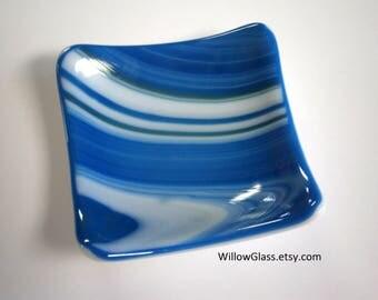 Fused Glass Dish in Wispy Sky, Glass Tray OOAK, Glass Dish, Glass Tray, Home Decor, Glassware, Willow Glass
