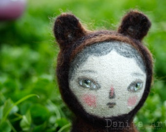 Rosco the bear - an adorable felted wool and fabric woodlands animal art doll handmade by mixed media artist and dollmaker, Danita