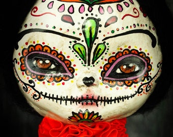"Frida Kahlo as ""La Catrina"", an original Dia De Los Muertos Sugar Skull painted art doll by Danita Art"