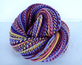 Handspun yarn, merino yarn, self striping yarn, bulky yarn, dolls hair, pink, purple, yellow, heavy worsted, CANDY TRAIL, 4oz,120yds