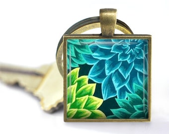 Dahlias in Blue and Green - Pendant, Necklace or Key Chain - Choice of Silver, Bronze, Copper or Black