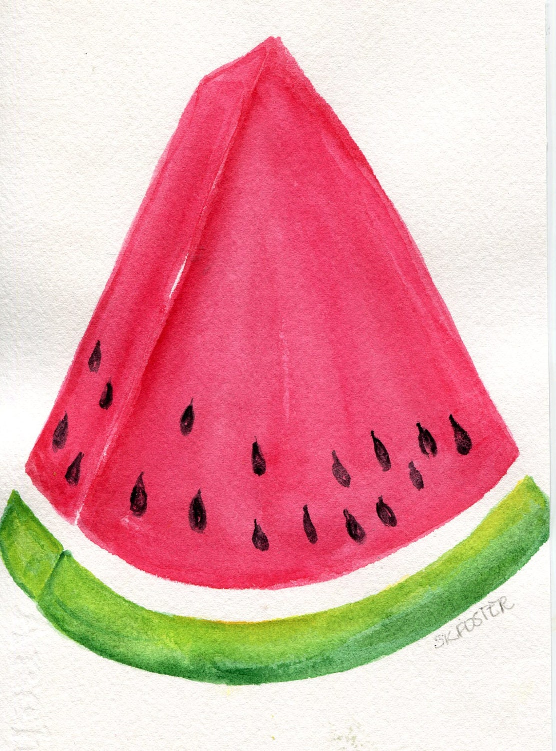 Watermelon Watercolor Painting Original Melon Kitchen Wedge