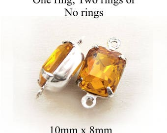Golden Topaz Vintage Glass Beads - 10mm x 8mm Octagon - Silver or Brass Settings - Glass Gems or Charms - Rhinestones - One Pair