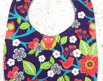 Baby bib Owl bib with flowers