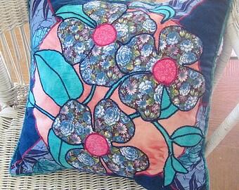 Floral Applique Pillow - Flower Throw Pillow - Blue Pillow - Art Pillow - Designer Pillow