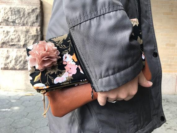 Black Clutch Bag, Fold-Over Leather Clutch, Clutch Purse, Evening Bag, Clutch Bag for Women, Floral Evening Clutch